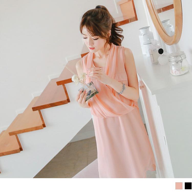 0518新品ob 評價 雪紡交叉垂綴造型寬鬆無袖洋裝.2色