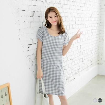 0506新品 格紋棉感雙口袋剪裁圓領短袖洋裝.2色