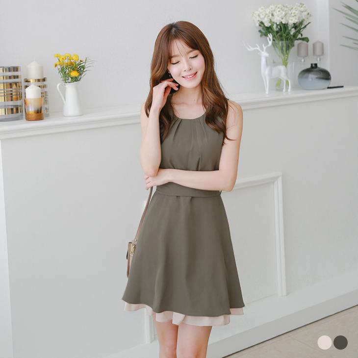 0601新品 素色打褶綁帶ob嚴選大尺碼雙層襯裙配色無袖洋裝.2色