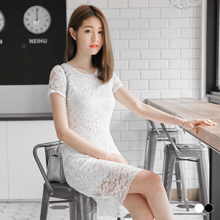 0516新品 局ob tw部透視立體蕾絲後拉鍊設計修身洋裝.2色