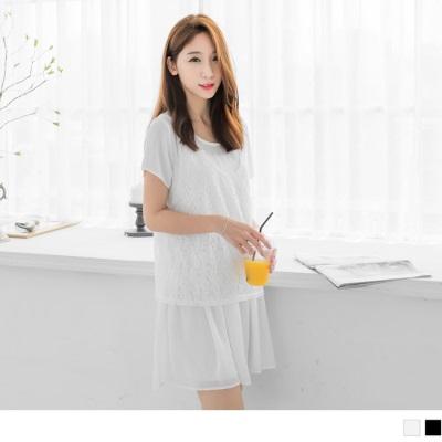 0602新品 兩件式素色蕾絲無袖背心x雪紡透膚短袖洋裝.2色