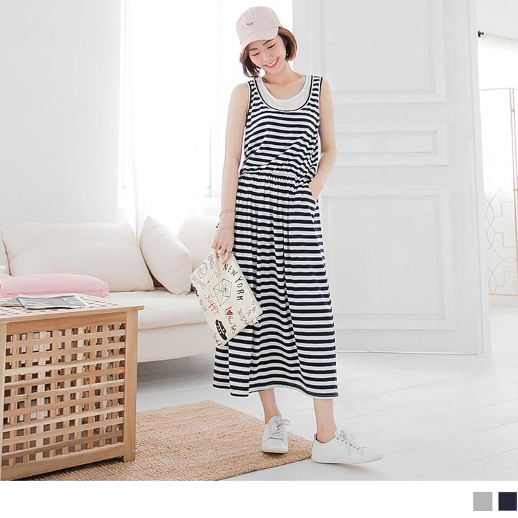0520新品 假兩件橫條紋腰鬆緊無袖寬鬆ob design 店面長洋裝.2色