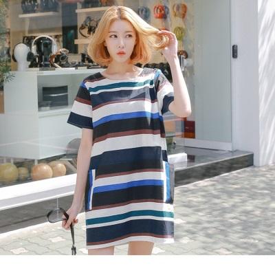0608新品 配色條紋設計寬版圓領洋裝
