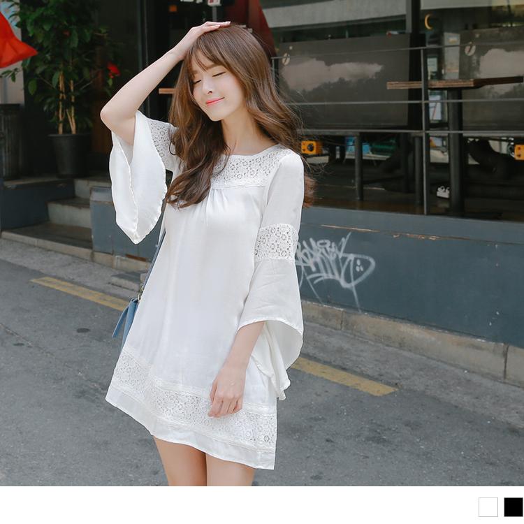 0518新品 素色蕾絲鏤空拼接不規則傘襬7ob衣服品質分袖洋裝.2色