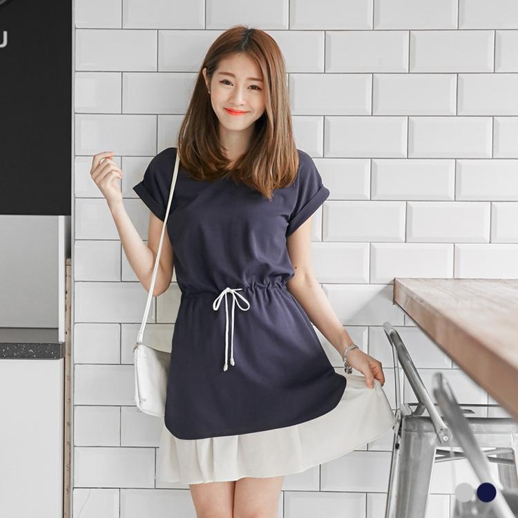 0520新品 素雅雙層裙襬配色ob嚴選門市綁帶反褶短袖洋裝.2色