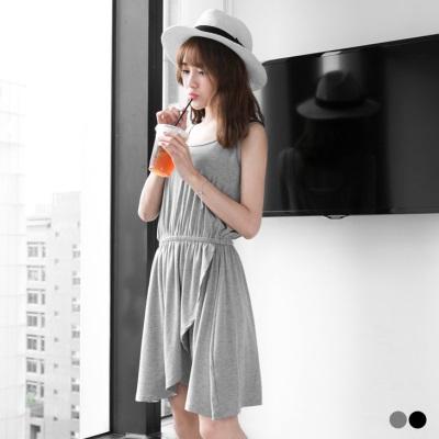 0505新品 下襬層次剪裁素色收腰無袖洋裝.2色