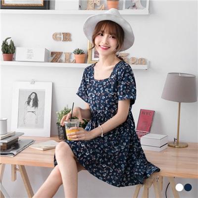 0524新品 碎花平口蛋糕層次裙襬短袖洋裝.2色