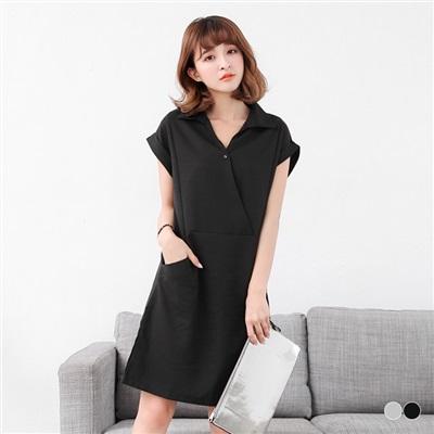 0531新品 襯衫領開襟設計反折袖洋裝.2色