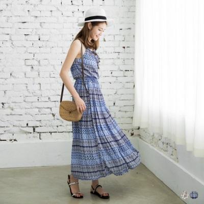 0606新品 圖騰印花X皮繩編織細肩長洋裝.2色