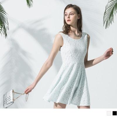 0530新品 滿版蕾絲後綁帶無袖連身洋裝.2色