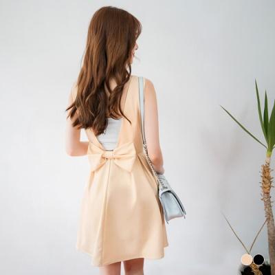 0617新品 素色性感V字露背蝴蝶結造型打褶無袖洋裝.2色