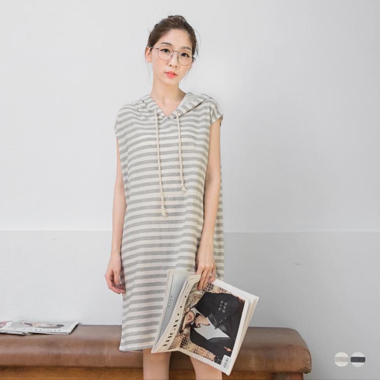 0531新品 海軍條紋棉麻obdesign.com.tw連帽短袖長洋裝.2色