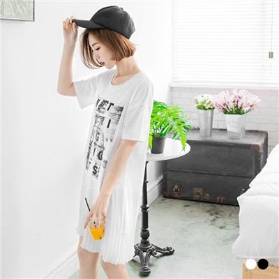 0602新品 竹節棉字母印花拼接百褶裙襬圓領短袖洋裝.2色