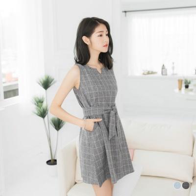 0602新品 清新格紋綁帶/領帶小V口無袖背心洋裝.2色