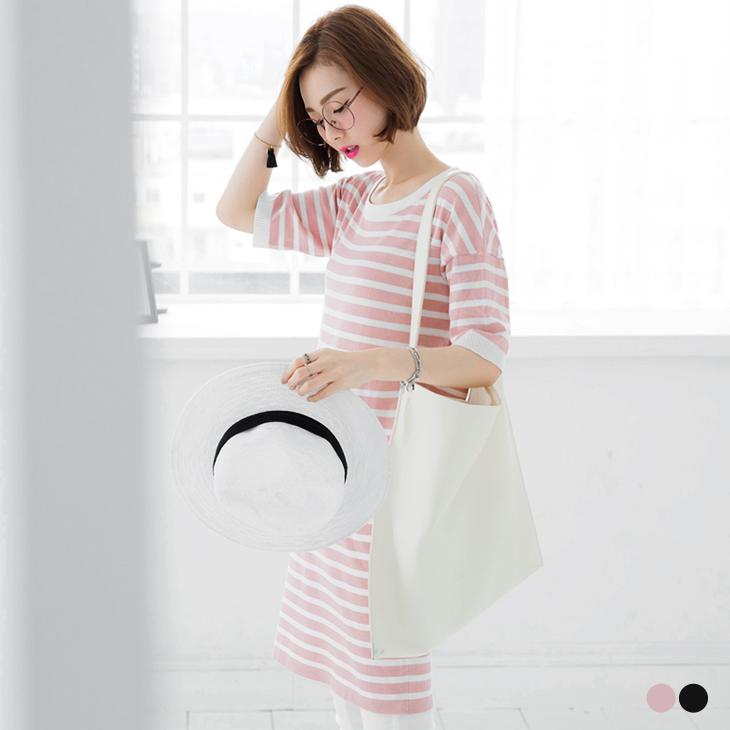 0505新品 橫條紋細針織彈性圓領長版上衣/洋裝.2色