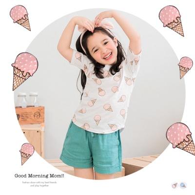 0616新品 棉質冰淇淋印花前短後長圓領上衣‧童3色