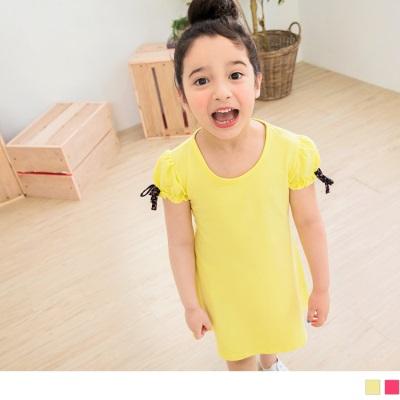 0606新品 繽紛蝴蝶結公主袖造型洋裝‧童2色