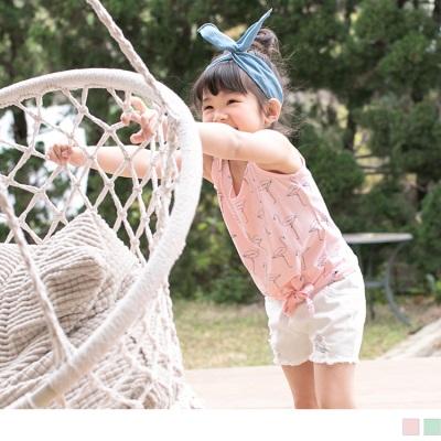 0606新品 紅鶴印花綁帶造型無袖上衣‧童2色