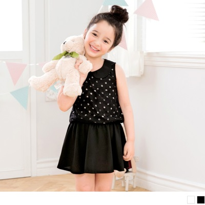0606新品 娃娃領蕾絲拼接圓點無袖洋裝‧童2色