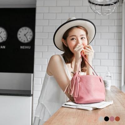 0530新品 流蘇綴飾荔枝紋水桶手提包/側背包/斜背包.4色