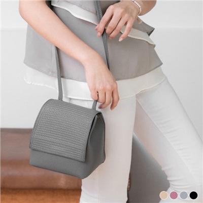 0602新品 荔枝紋路X橫條車線立體方型側背包/肩背包.4色