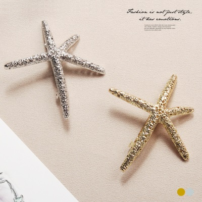 0523新品 質感金屬海星髮夾.2色