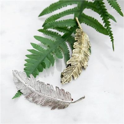 0523新品 質感金屬羽毛髮夾.2色