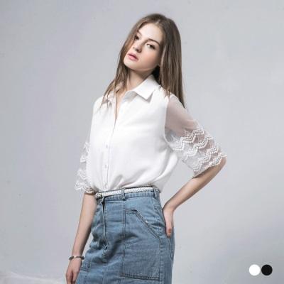 0607新品 透膚蕾絲雕花拼接袖雪紡襯衫‧2色