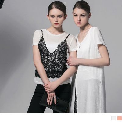 0607新品 假兩件蕾絲雕花拼接圓領上衣‧2色