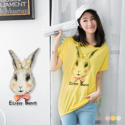 0607新品 邦妮兔子印花飛鼠袖長版圓領T恤‧3色
