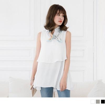 0617新品 雪紡素雅層次造型半開襟無袖襯衫長上衣.3色