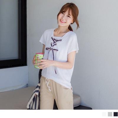 0608新品 領口綁帶設計X純色假倆件式上衣.3色