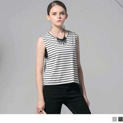 0607新品 假兩件橫條紋圓領無袖上衣‧2色