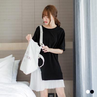 0606新品 假兩件竹節棉素色長Tx雪紡白褶裙寬鬆洋裝.2色