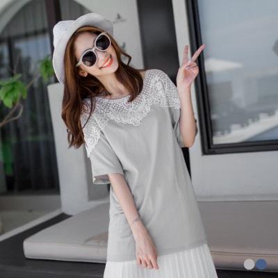 0606新品 布蕾絲綴領設計純色連袖長版上衣.2色