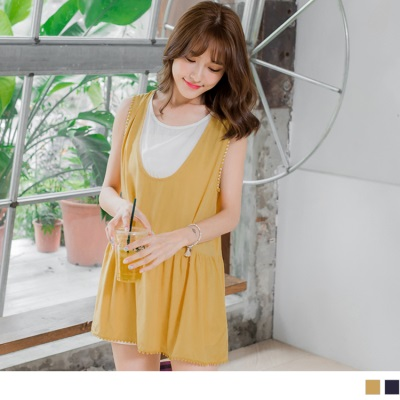 0617新品 假兩件配色圓點滾邊傘襬無袖寬鬆長上衣.2色