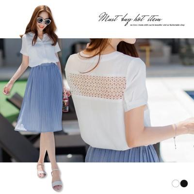 0606新品 純色開襟後鏤空蕾絲設計襯衫.2色