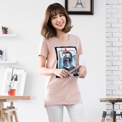 0616新品 緞面藝術畫作長版T恤.2色