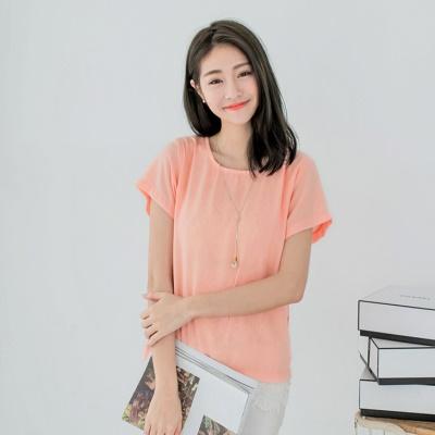 0607新品 純色拼內花蕾絲假兩件式上衣.2色