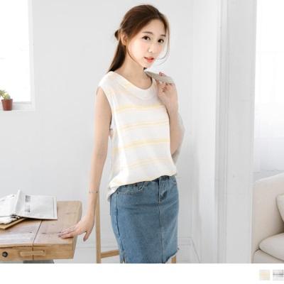 0617新品 橫條紋造型口袋棉麻感背心.2色