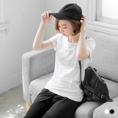 0617新品 細緻亮片綴水鑽英文字樣竹節棉T恤.2色