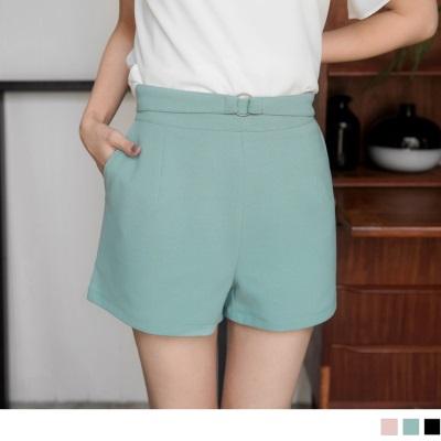0606新品 假皮帶設計立體剪裁純色短褲.3色