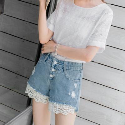 【LINE限定】 蕾絲拼接破損造型牛仔排釦短褲