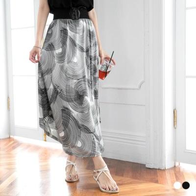 0616新品 圖型線條涼感寬蕾絲鬆緊皮革綁帶長裙.2色