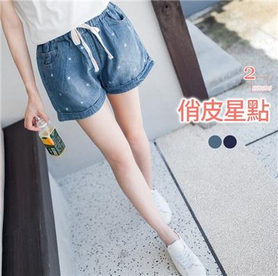 0606新品 星星刺繡刷色抽繩牛仔短褲.2色