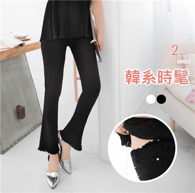 0617新品 素色抽鬚造型高腰修身彈性喇叭長褲.2色