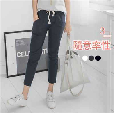 【LINE限定】 腰頭綁繩休閒棉感素色長褲.3色