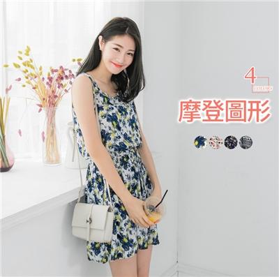 0608新品 碎花/大花/圖騰收腰綁繩背心洋裝.4色