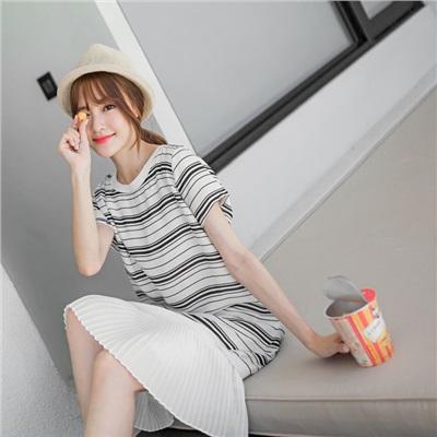 0608新品 假兩件雪紡橫條紋x百褶裙圓領短袖洋裝