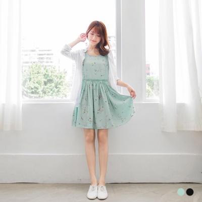 0617新品 雪紡花朵印花縮腰無袖洋裝.2色